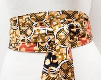 Gold Ankara Obi Belt   African Print Obi Corset Belt   Wax Print Belt   Wide Belt Corset Belt  plus size belts  African Print