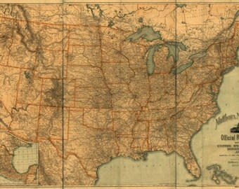 State Railroad Map custom extract from Official Railroad Map of 1890 for United States, Canada and Mexico vintage reproduction