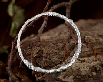 Solid Sterling Silver Twig Bracelet