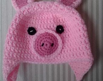 Crochet Pig Hat / Animal Hat