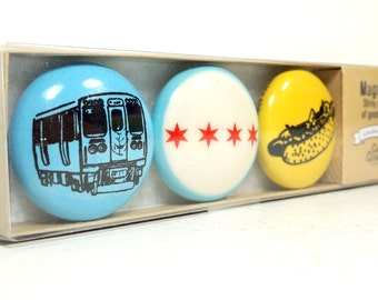 magnet set of Chicago Icons. (3pk)