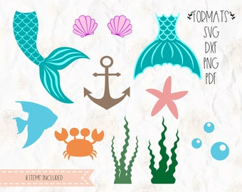Mermaid tail, clam, shell SVG (layered), PNG, DXF, Pdf cricut, silhouette studio, vinyl decal, t shirt design, scrapbookin, stencil template