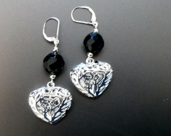 Heart Leverback Silver Earrings with Black Crystals , Long Dangle Earrings, Valentines Gift for her, Silver Earrings