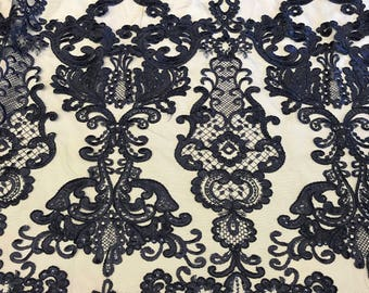 Navy Blue Embroidered Antique King's Lace fabric by the yard