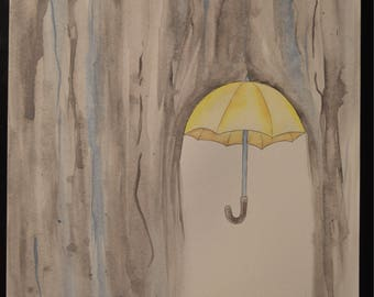 Yellow umbrella watercolor