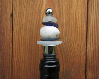 White and Blue Sea Glass and Round White Beach stone Wine Bottle Stopper