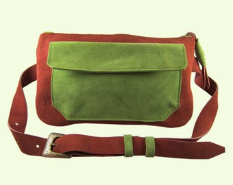 Travel Hip bag. Genuine suede Fanny pack. Made with Love in Brooklyn.