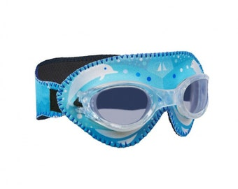 Personalized Giggly Goggles Dolphin swim goggles | Swimming Goggles for toddlers, Kids and Adults | Cool & comfortable swim goggles