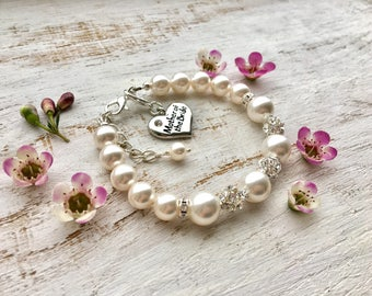 Mother of the bride gift from daughter bracelet, Mother of the bride gift from groom. Thank you mom wedding day Swarovski pearl jewelry set.
