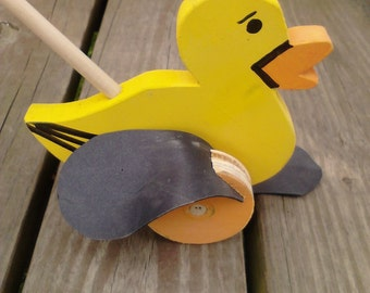 Old Fashion Wooden DUCK PUSH TOY (Flapper toys)