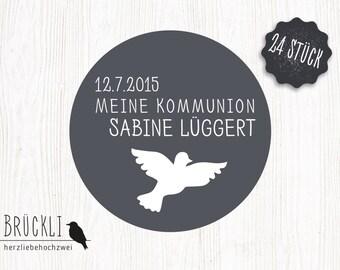 """24 stickers / labels / stickers / confirmation / communion invitation """"Dove"""""""