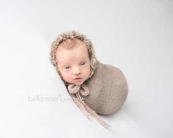 Eskimo Bonnet Photo Prop Newborn Baby Boy Hat Going Home Shower Gift Coming Hand Knit Girl Cap Organic Photography Neutral Knitted Beanie