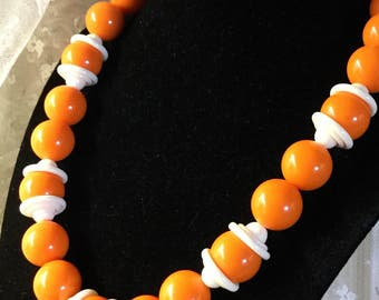 Bright Bright Orange Large Lucite Bead Bead Cap Necklace 1960's 1970's Unsigned Molded White Bead Caps Hats Gold Tone Chain Extender Hook