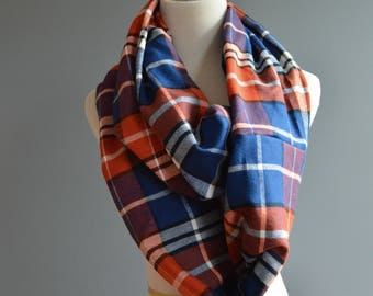 fall plaid scarf, infinity scarf, scarf