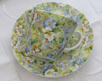 Chintz Tea Cup and Saucer, Queen's Rosina Yellow and Blue Bone China Tea Cup and Saucer, English Bone China
