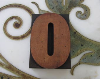 Letter O Antique Letterpress Wood Type Printers Block Number 0 Zero