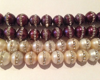 12-13mm round pearl with cubic zirconia, 41beads