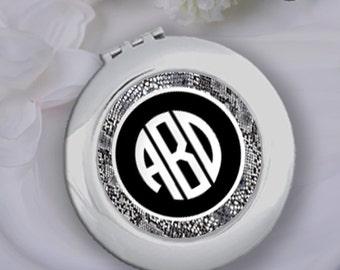 Personalized Snakeskin Compact Mirror & Velvet Pouch, Bridesmaid Gift, Wedding Bridal Party Gift, Bachelorette Gift, Monogram Pocket Mirror