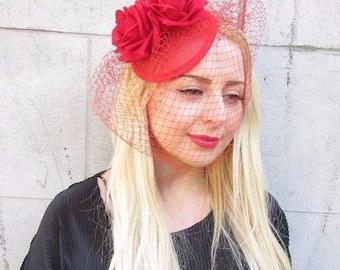 Red Rose Birdcage Veil Flower Fascinator Races Headpiece Hair Clip Hat 50s 2374