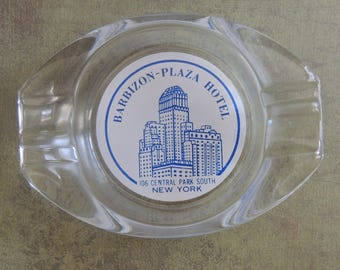 Vintage Advertising Ashtray / Souvenir Ashtray /Barbizon-Plaza Hotel / Central Park NYC / Retro / 1950s Ashtray / Tobacciana Collectible