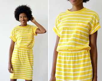 80s Midi Dress S/M • Knit Jersey Dress • Vintage Yellow Dress • Sporty Dress with Pockets • Drawstring Dress • 80s Dress | D1470