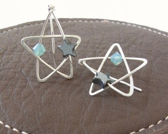 Star Earrings   Star Ear Climbers   Sterling Silver Star Earrings   Wire Wrap Earrings   Handmade Earrings   Celestial Earrings   Blue