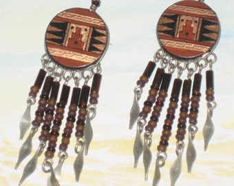 Aztec Alpaca Silver Style Chandelier Earrings, Alpaca Fringe Aztec, Southwestern, Dangle Earrings, Fringe Design