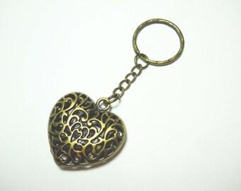 Hollow Filigree Heart Pendant Keychain, Heart Keyring, Heart Pendant, Heart Lanyard, Accessories for Women, Gift for Women