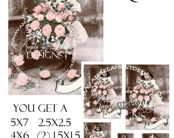 Rose Bouquet 2 Sheet Digi Photo Set