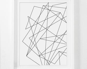 Abstract Geometric Print, Geometric Art, Black and White Print, Abstract Art Black White Wall Art, Abstract Print Printable Digital Download