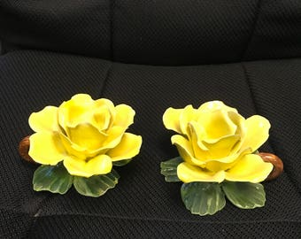Capidomonte yellow rose candle holders