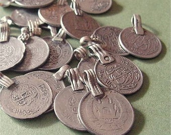 "VINTAGE Silver Coin Charms Afghan Kuchi Pendants mixed lot of 5 ETHNIC ELEMENTS Kulchi Belly Dance 3/4"" to 1"""