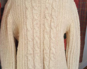 Vintage 1950s Jantzen fisherman's cream wool pullover sweater turtleneck and thick wool made in the USA size medium to large