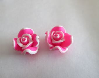2 beads pink flower in fuchsia pink polymer clay 12mm