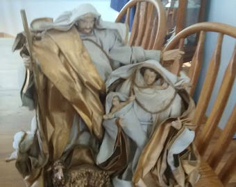 VINTAGE! Holy Family Large Figurine made of Plastic & Cloth on a Wood Base