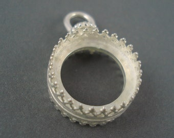 ON SALE, Revolving Bezel, Silver 14MM Bezel, Two Sided Revolving Pendant Frame (JBBRBS)