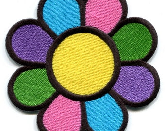 Flower power boho hippie retro love peace weed applique iron-on patch Med.