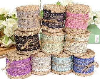 98cm of jute Ribbon and lace vintage style 50mm. 9 colors to choose from