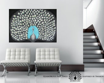 200+ Swarovski® peacock painting. Peacock blue painting. Teal peacock art. Peacock artwork. Peacock wall art. Peacock decor by Lydia Gee