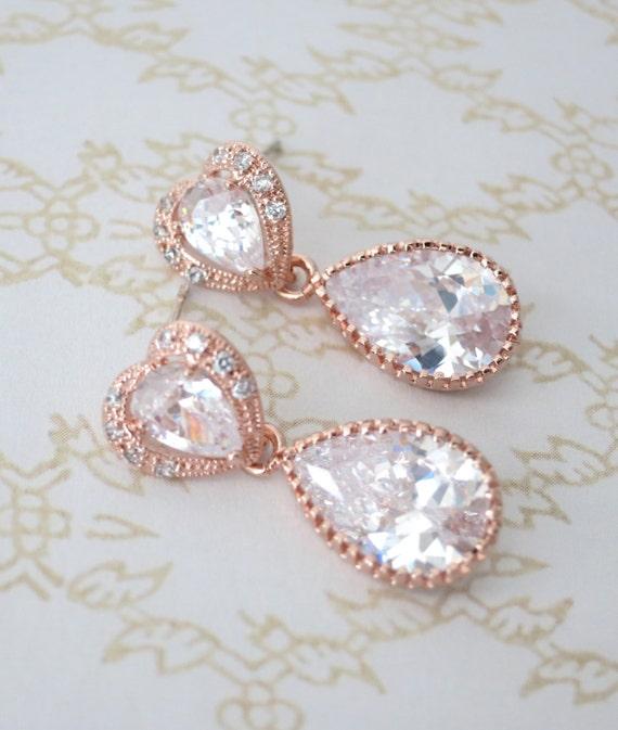 Rose Gold Cubic Zirconia Teardrop Earring - gifts for her, earrings, bridal gifts, drop, dangle, pink gold weddings, heart earrings, love