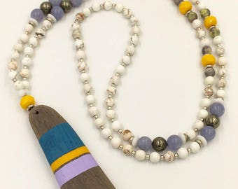 Ocean dreams driftwood mala necklace