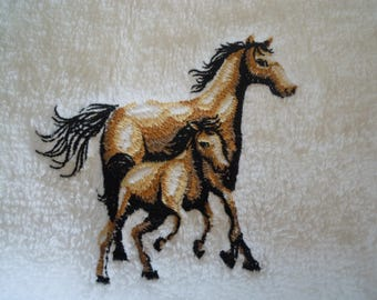 machine embroidered Terry towel