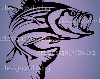 Vector FISH, Striped Bass, AI, eps, pdf, PNG, svg, dxf, jpg Image Graphic Digital Download Artwork, graphical, discount coupons
