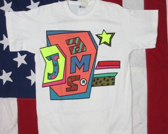 """Vintage 1990's """"Jams"""" Deadstock Graphic T-Shirt Small White Highlighter Pink Blue Geometric"""