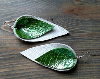 Green and White Upside down Layered Leather Earrings - Lightweight Big Leather Earrings