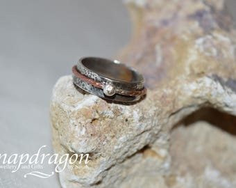 Sterling silver spinner ring UK size L US 6