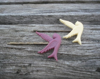 flying sparrow bobby pin set - ivory and maroon purple