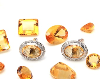 925 sterling silver Natural citrine & CZ Gemstone men's cufflinks