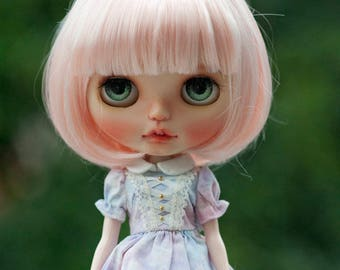 """Cute Light Pink Short Straight BOB Blythe Wig with Fringe 10-11"""" Size Doll Wig"""