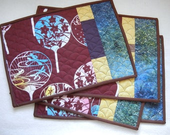 Quilted placemats - Fan (03) - set of 4
